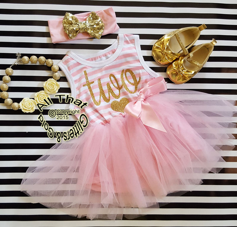 62d5ecb52 Pink and Gold Striped Birthday Age Tutu Dresses For Toddler Girls For Ages  1 to 4