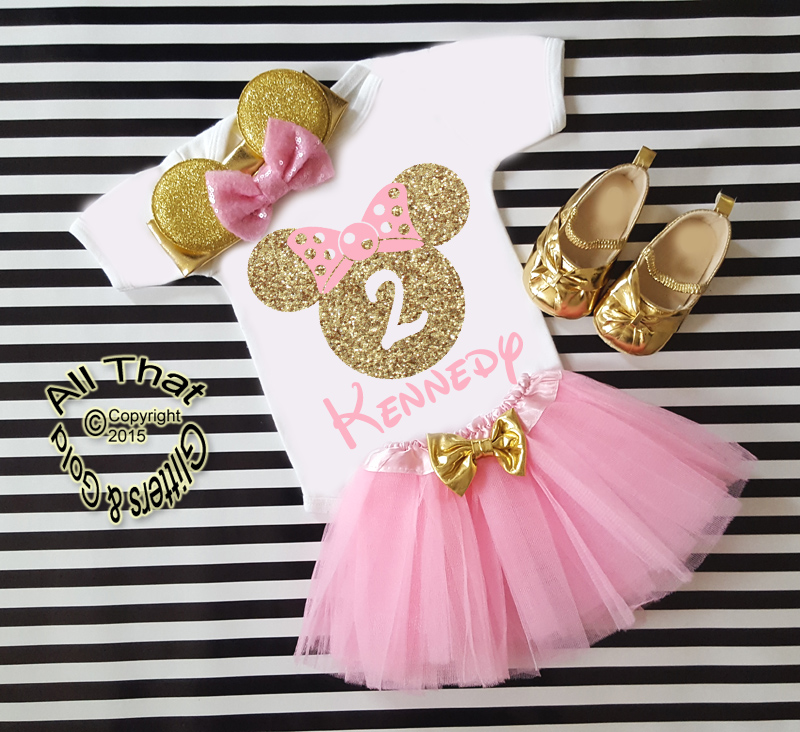 b0984b46062a2 Pink Gold 1st 2nd 3rd 4th 5th Minnie Birthday Tutu Outfits with Matching  Headband