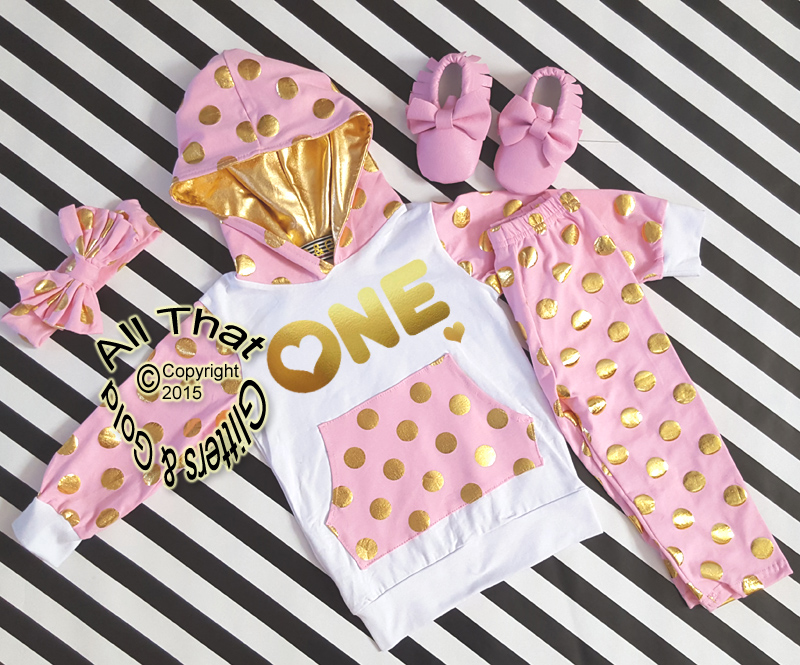 Pink and Gold 1st Birthday Polka Dots Pants Outfit 3b06d35aa