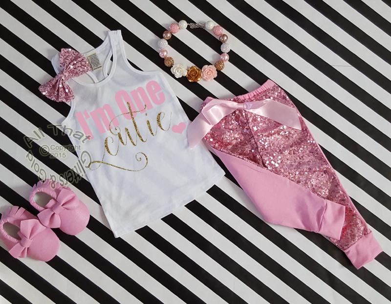 46e51f059 Pink and Gold I'm One Cutie 1st Birthday Sequin Pants Outfit