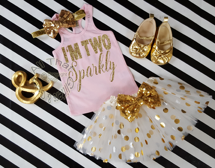 dd8100aa5c198 Cute I'm Two Sparkly Year Old Birthday Outfits - Pink Gold Tutu Sets ...