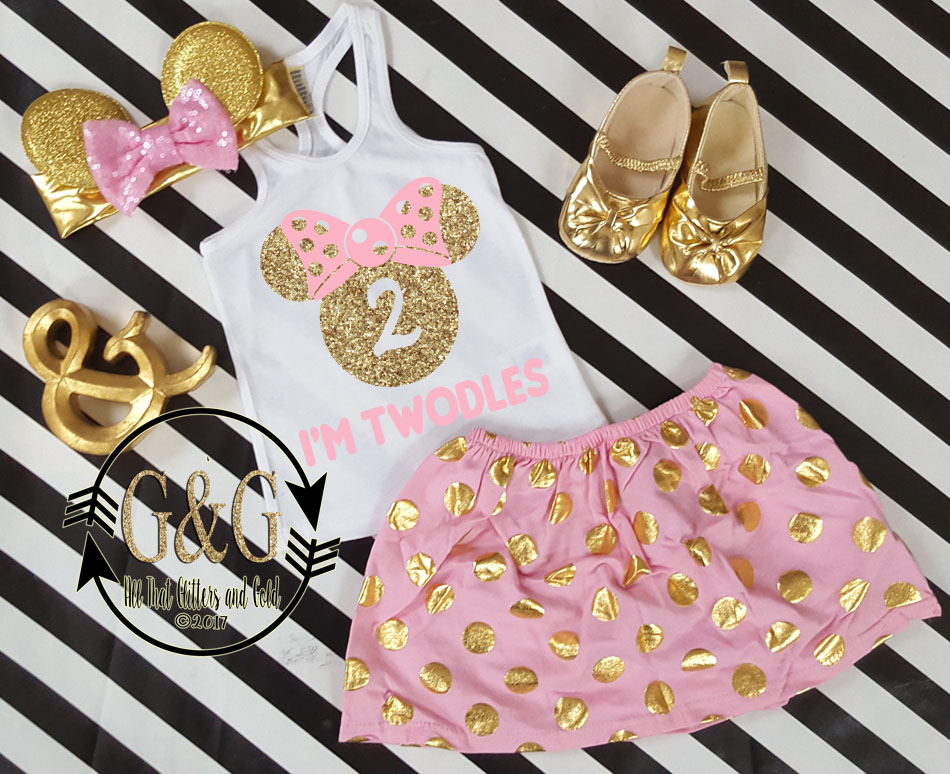 Pink and Gold Polka Dot Minnie I'm Twodles Outfit For Girls