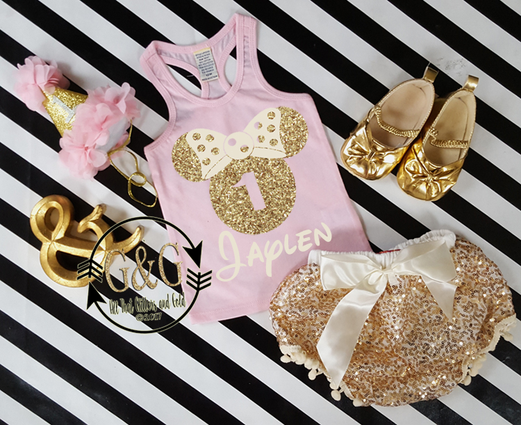 Pink and Gold 1st Minnie Birthday Outfit With Gold Sequin Pom Pom Bloomers Ages 1 to 3