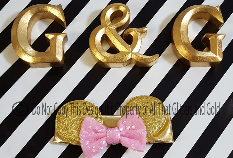 Pink and Gold Glitter Minnie Ears Baby and Little Girls Big Bow Headbands