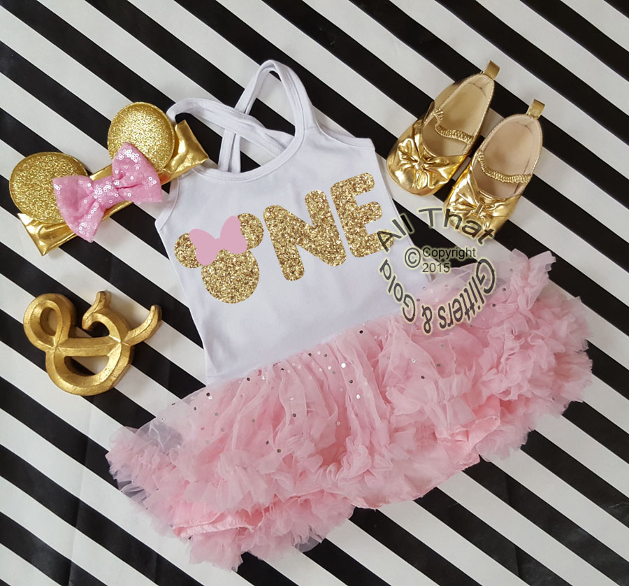 Pink and Gold Glitter 2pc Minnie One Year Old Birthday Tutu Dresses For Toddler Girls