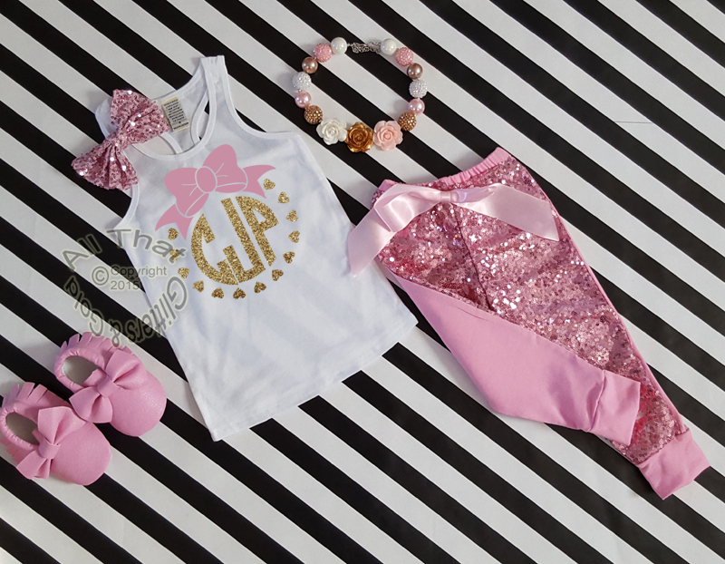 Pink and Gold Monogram Sequin Pants Outfit