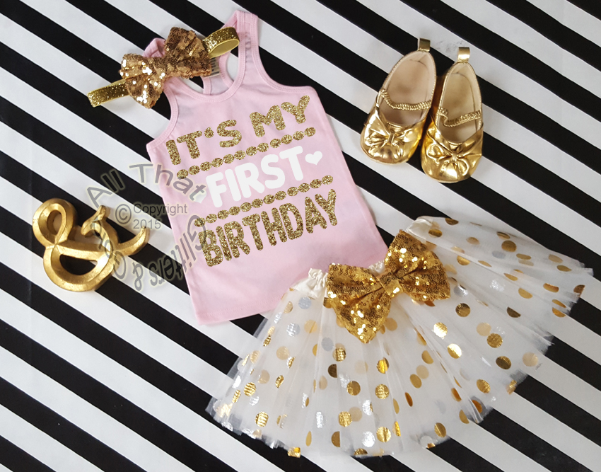 Pink and Gold It's My First Birthday Polka Dot Tutu Outfit