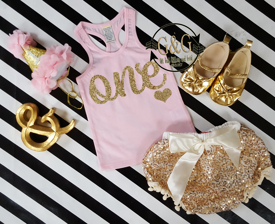 Pink and Gold 1st Birthday Outfit With Gold Sequin Pom Pom Bloomers Ages 1 to 3