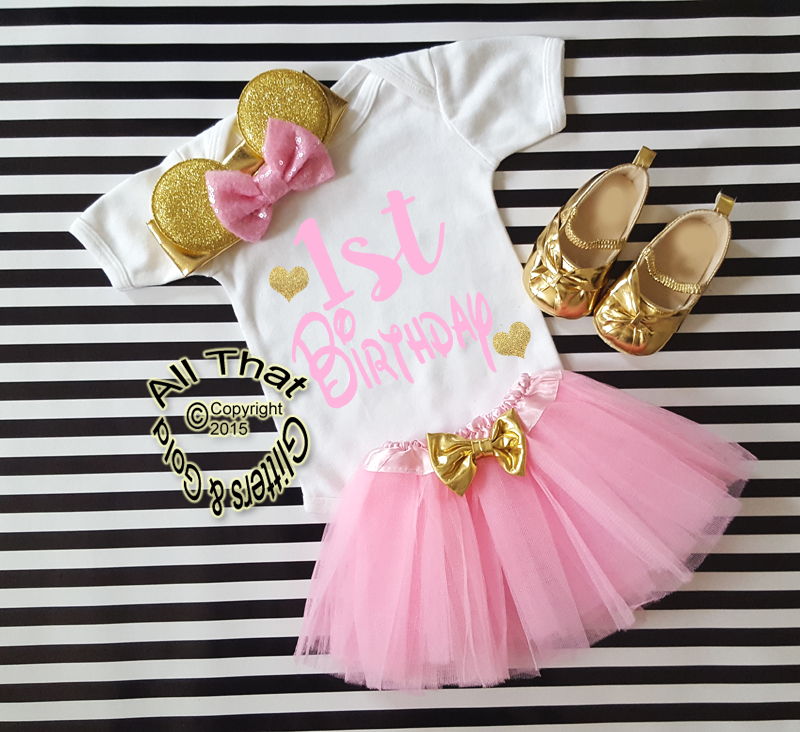 685cee9258ba Pink Gold 1st Year One Year Old Birthday Tutu Outfits With Minnie ...