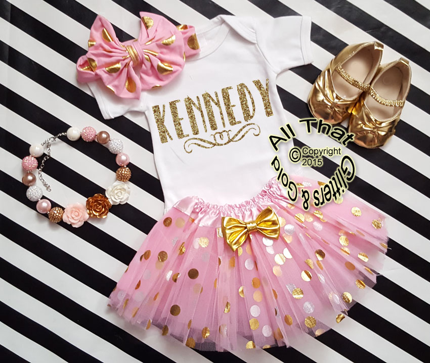 add50764f #cust-22 Personalized 3pc Pink and Gold Tutu Outfit For Baby Girl and Toddler  Girls