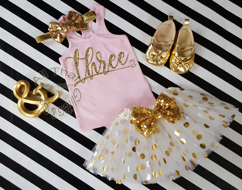 Pink and Gold Glitter Polka Dot Birthday Tutu Outfit Age 1-6