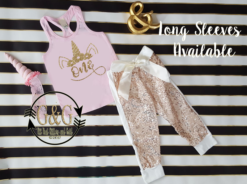 Pink and Gold Glitter Unicorn Sequin Birthday Pants Outfit Ages 1-6