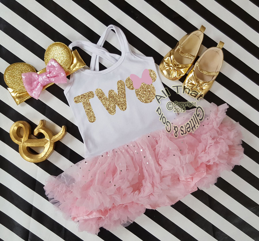 Pink and Gold Glitter 2pc Minnie Two Year Old Birthday Tutu Dresses For Toddler Girls