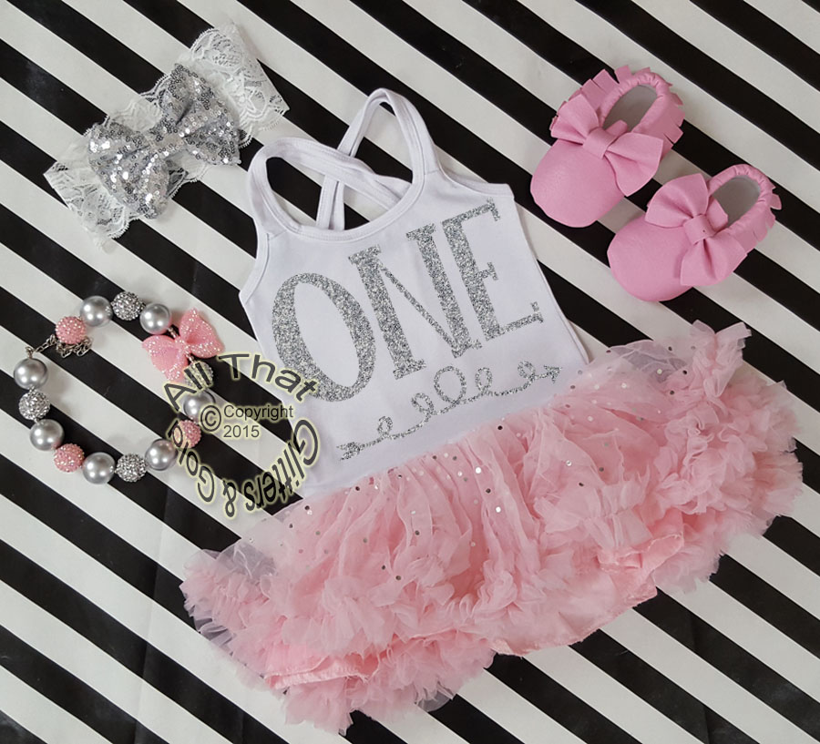 Pink and Silver Sequin One Year Old Birthday Tutu Dresses For Toddler Girls