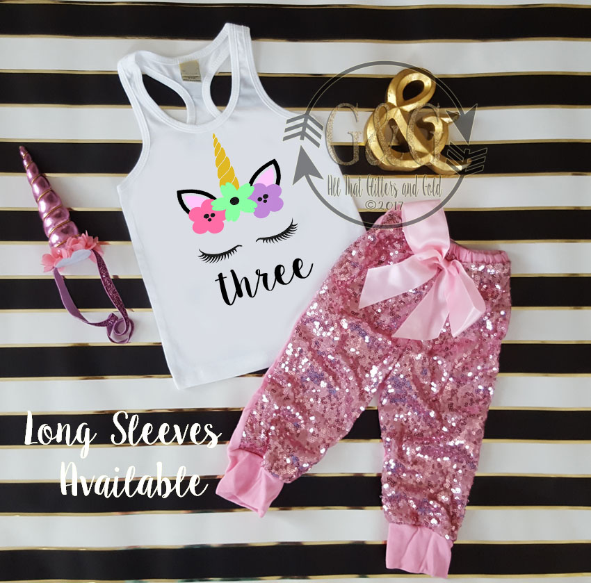 Pink Unicorn Face Sequin Birthday Pants Outfit Ages 1-6