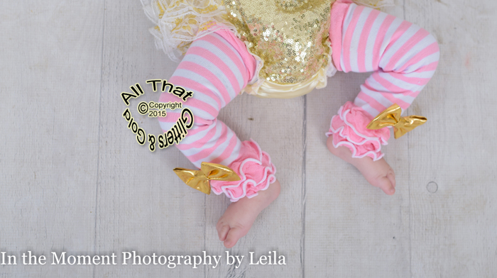 Striped Baby Girl Leg Warmers With Gold Bow