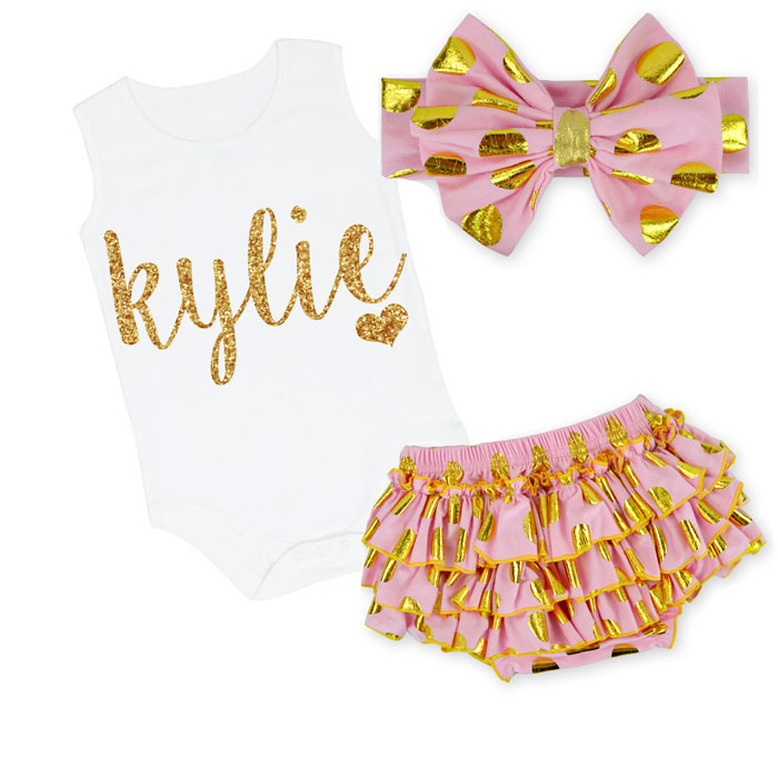 Cute Pink and Gold Personalized Baby Girl Polka Dot Ruffled Bloomer Outfit