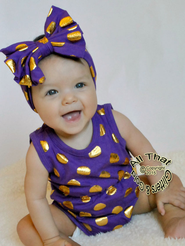 8a9b02532cee Purple and Gold Polka Dot Baby Girls Tank Sleeveless Bodysuits Rompers