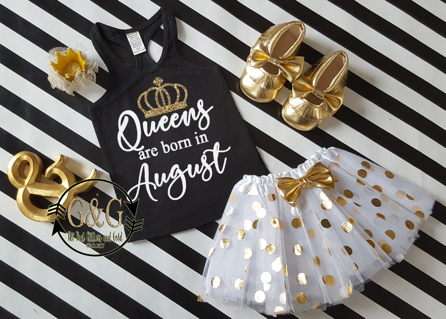 Black, White and Gold Queens Are Born In Polka Dot Birthday Tutu Outfit Ages 1-Adults