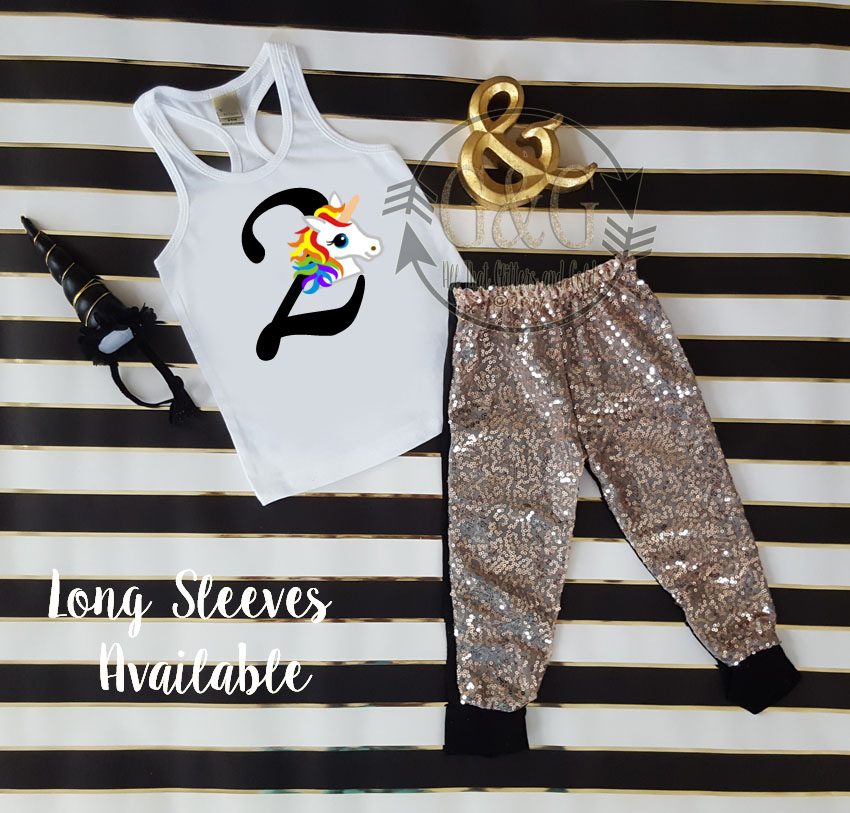 f64df7b80438 Rainbow Unicorn Sequin Birthday Pants Outfits Toddler Girls Winter Fall