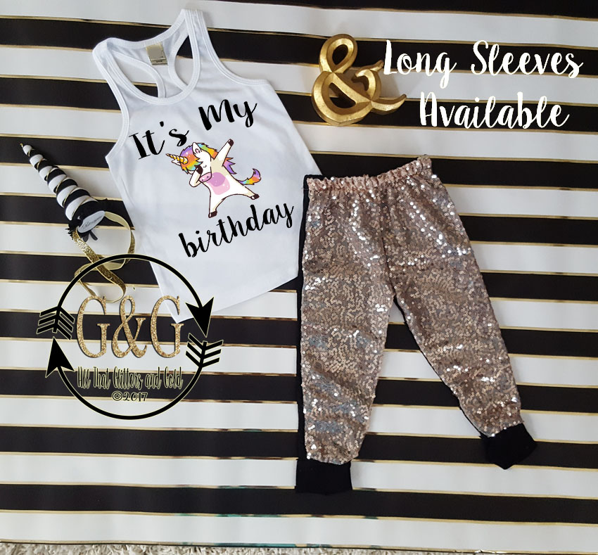 3fbf8b1aa Funny Black Gold It's My Birthday Dab Unicorn Sequin Birthday Pants Outfit  Ages 1-6
