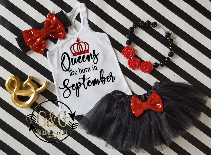 Black and Red Queens Are Born In Polka Dot Birthday Tutu Outfit Ages 1-Adults