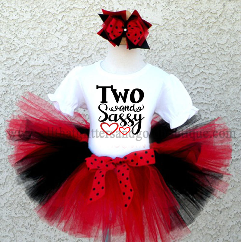 Black Red And White Glitter Sassy Birthday Tutu Outfit For Ages 1 16