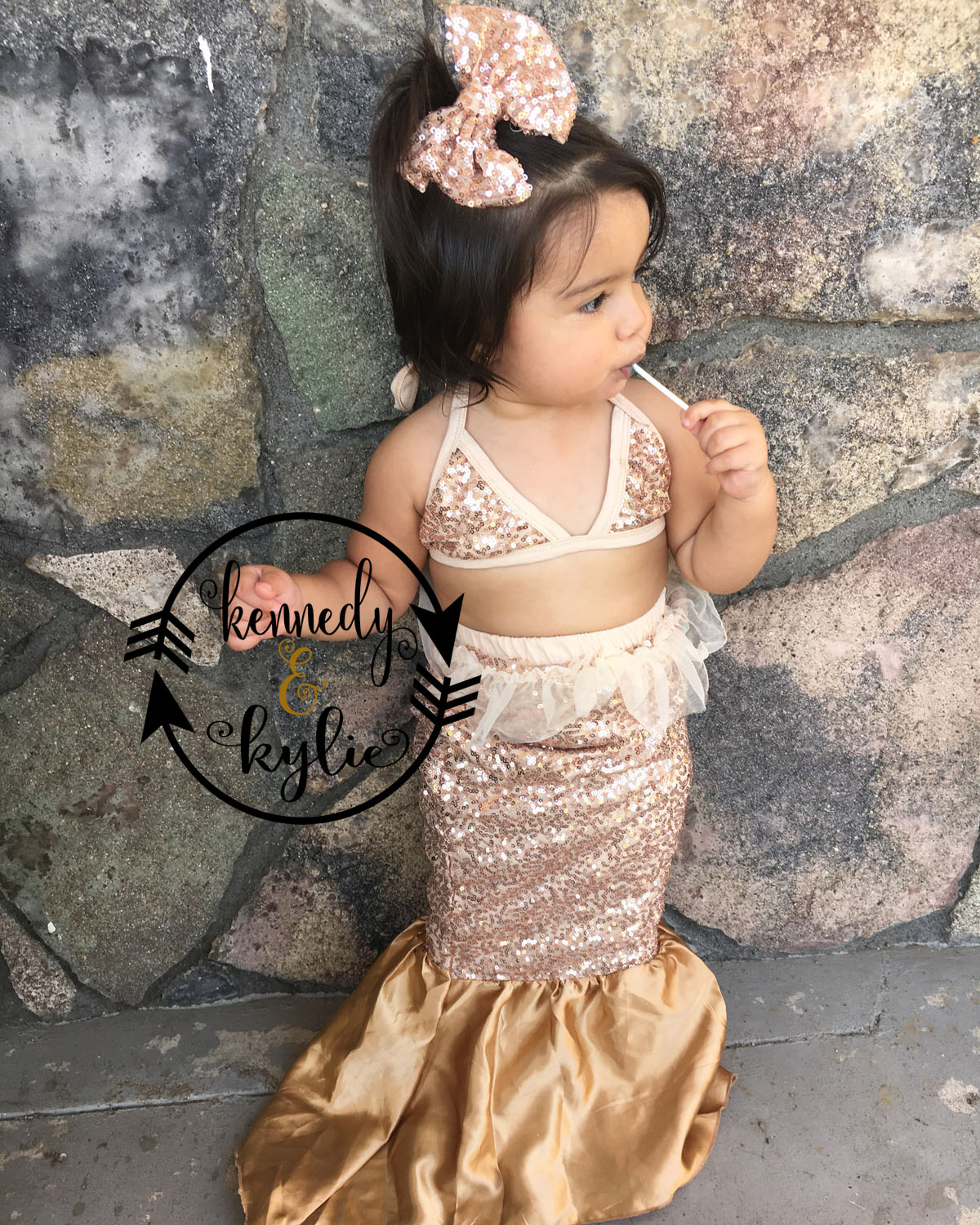 Fancy Sequin Mermaid Costume For Baby Girls and Little Girls