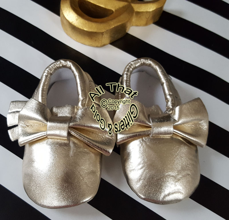 Shiny Gold Soft Soled Baby Girl Moccasin Shoes With Bows