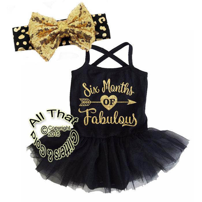 Black and Gold Glitter Six Months Of Fabulous Tutu Dresses For Baby Girls Half Birthday