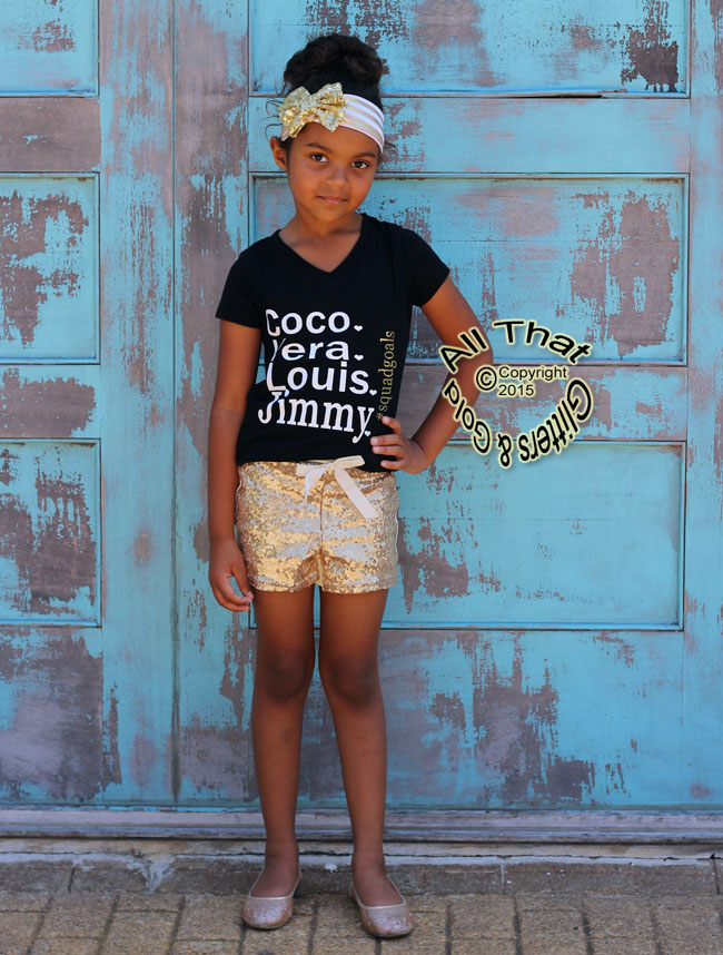 Black, White and Gold Squad Goals Shirts For Toddler Girls