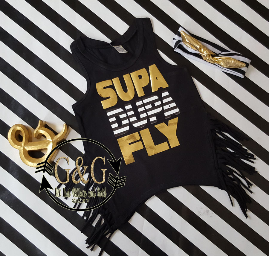 Supa Dupa Fly Fringe Tank Top Shirts For Toddlers and Big Girls