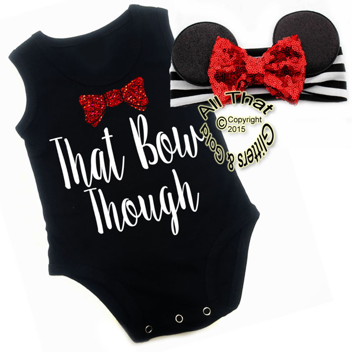 2 Pc Black, White and Red Glitter That Bow Though Mouse Girls Outfit