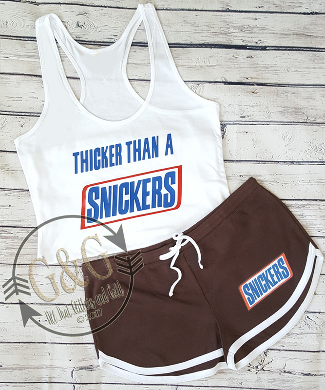 Cute Thicker Than A Snickers Summer Shorts Outfit Set For Juniors and Women