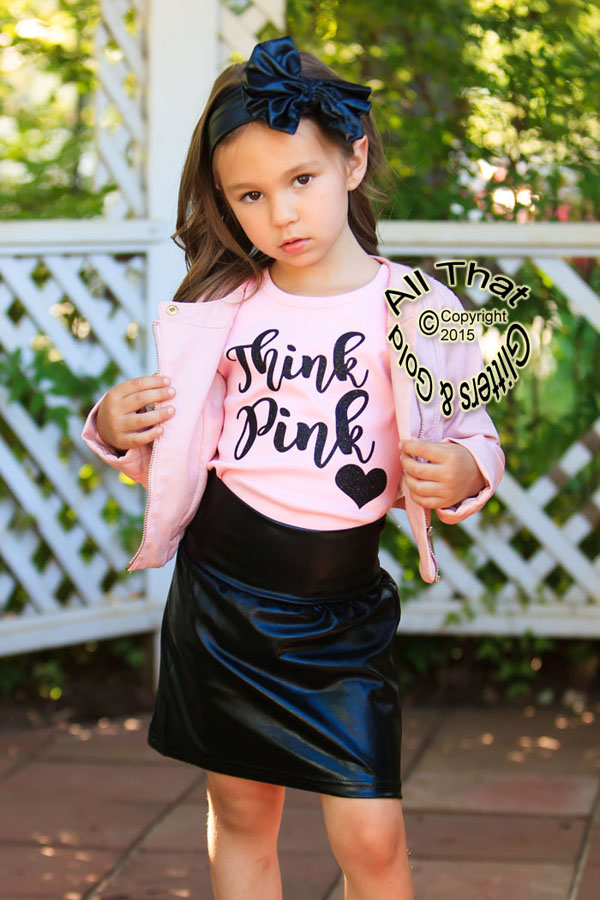 2 Pc Pink and Black Glitter Think Pink Grease Baby Girl Outfit