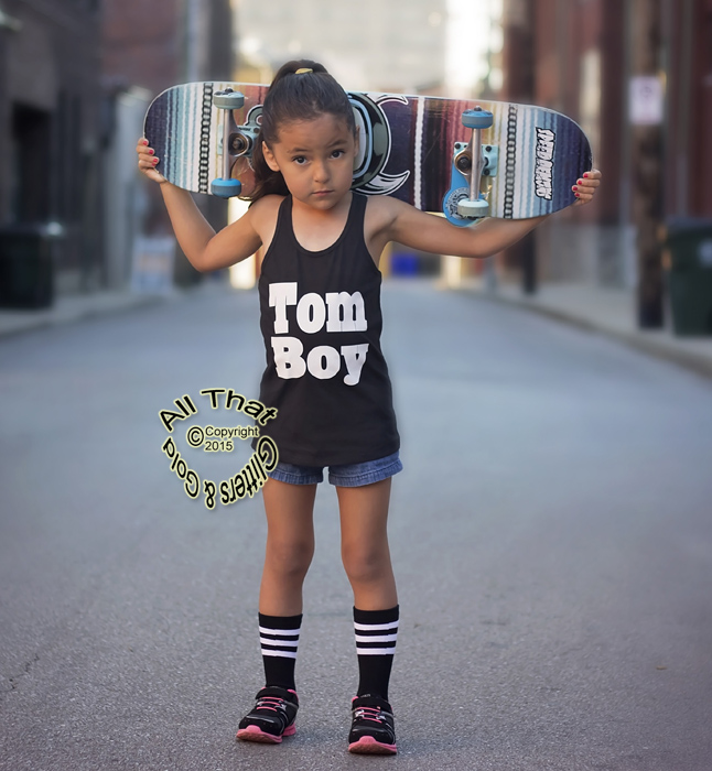 Black And White Tom Boy Fashion Shirts For Baby Girls