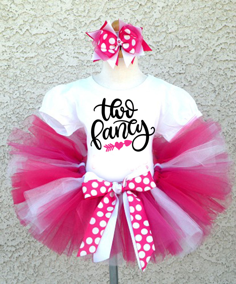 Hot Pink and White Glitter Two Fancy Birthday Tutu Outfit For Two Year Olds