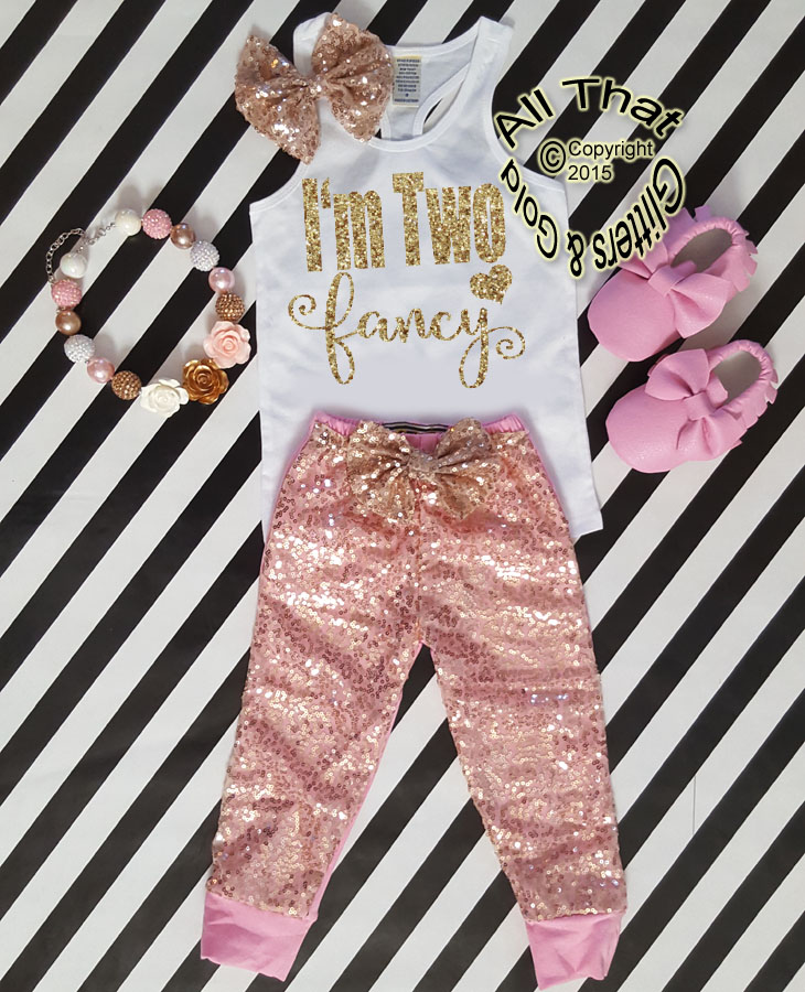 Pink and Gold I'm Two Fancy Sequin Birthday Pants Outfit
