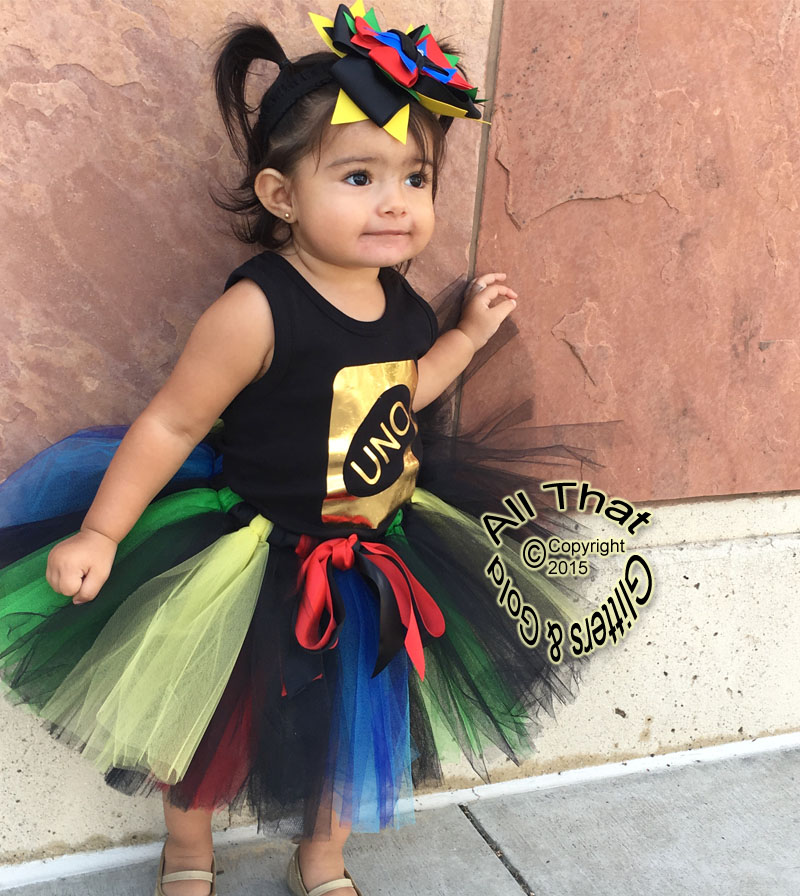 Gold Uno One Year Old 1st Birthday Tutu Outfit