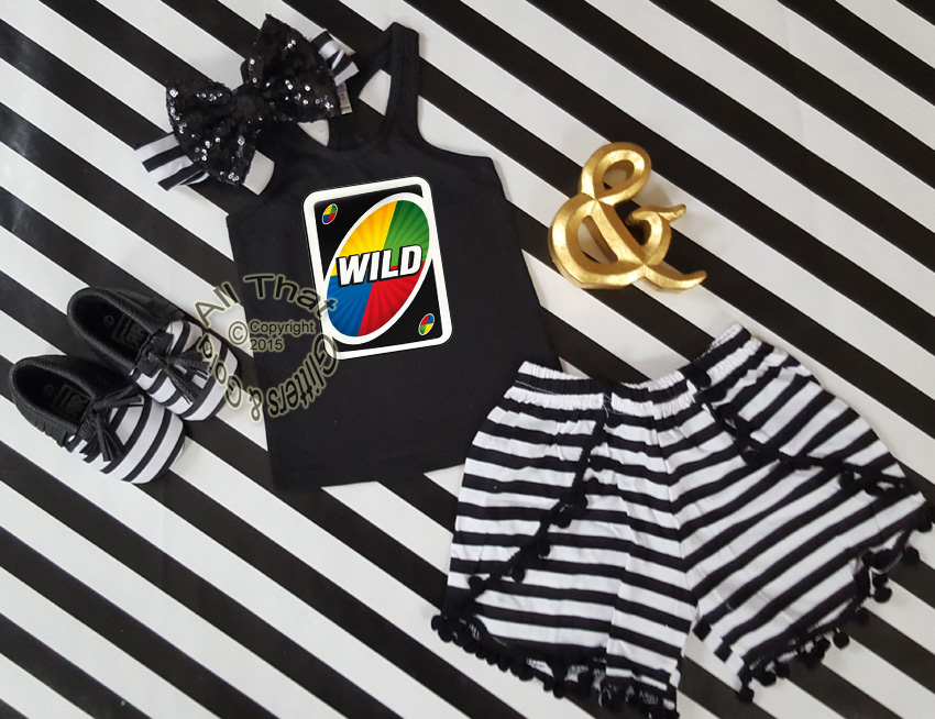 Cute Uno Birthday Outfits Wild Card Shorts Set Summer
