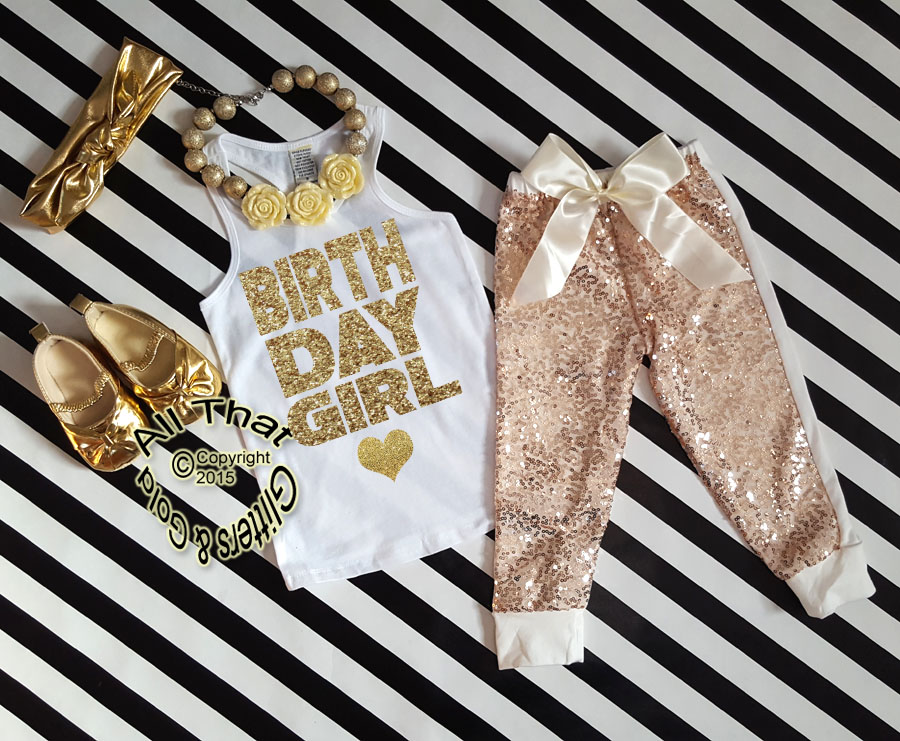 Ivory and Gold Birthday Girl Sequin Birthday Pants Outfit