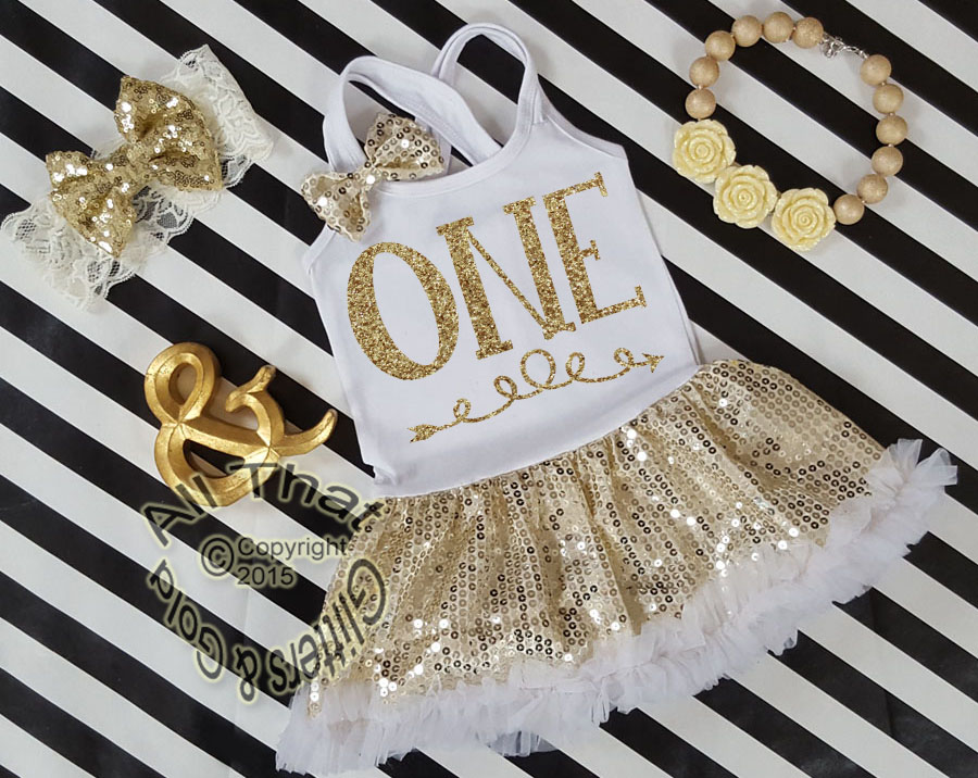White and Gold Sequin One Year Old Birthday Tutu Dresses For Toddler Girls