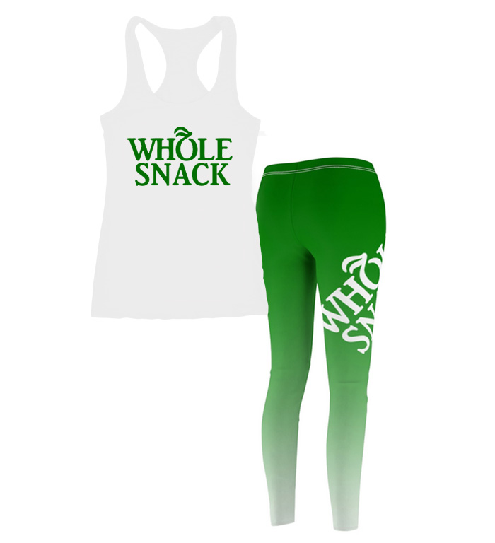 Whole Snack Tank Workout Outfit Set With Leggings For Juniors and Women