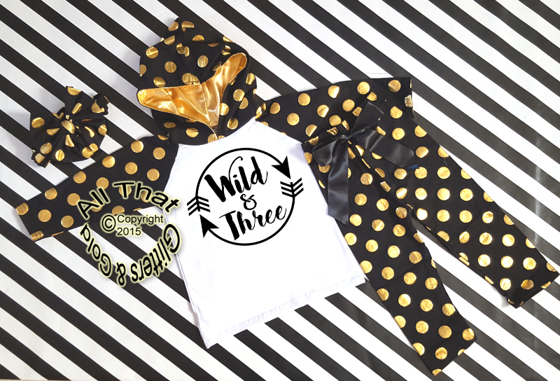 Black and Gold Wild and Three 3rd Birthday Polka Dots Pants Outfit