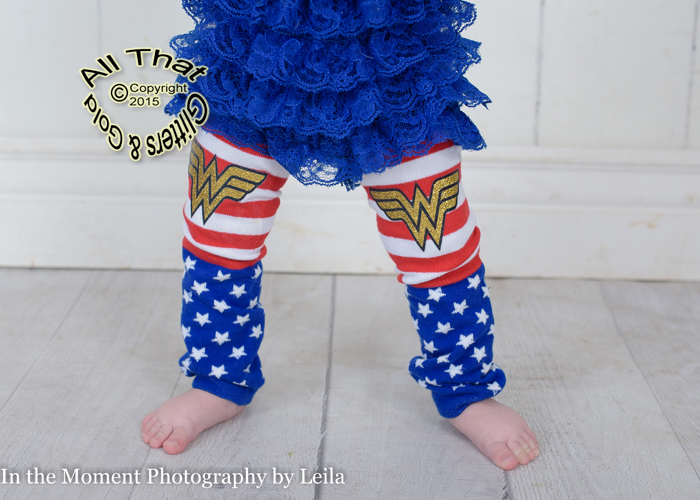 Glitter Wonder Woman Superhero Baby Little Girls LegWarmers