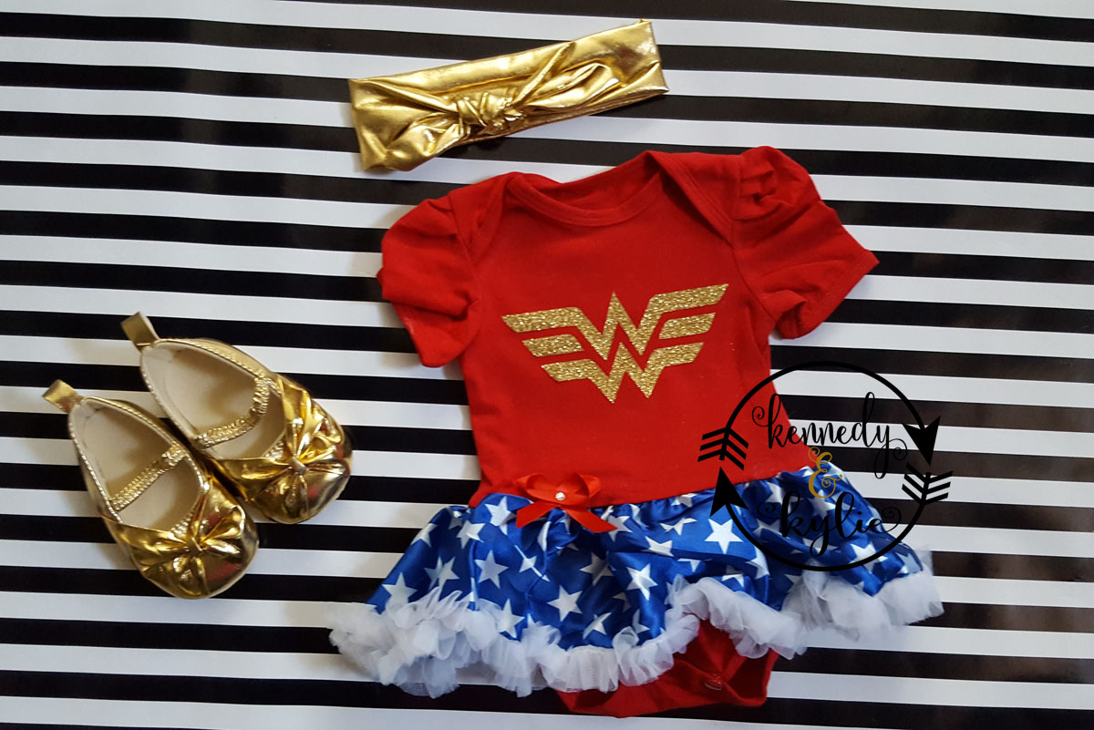 Glitter Wonder Woman 2 Piece Tutu Onesie Set For Baby Girls