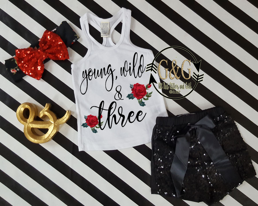 White, Black and Red Sequin Young, Wild, Three Birthday Shorts Outfit Watercolor Roses