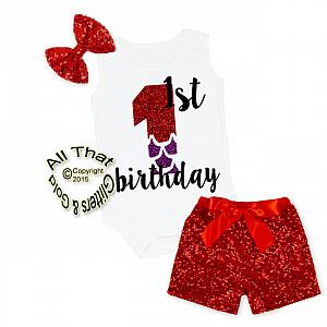 Red and Purple Mermaid Glitter 1st Birthday Sequin Shorts Outfits
