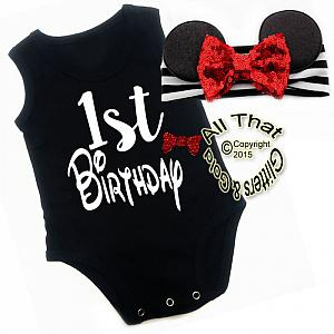 2 Pc Black, White and Red Glitter 1st Birthday Minnie Baby Girl Outfit