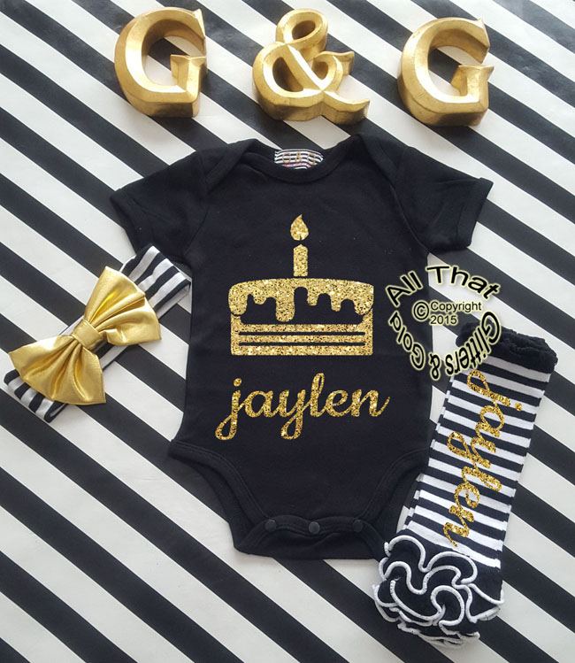 Personalized Baby Girls Glitter Cake First Birthday Shirt